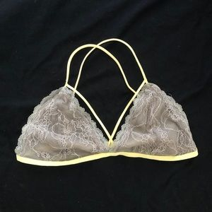 Grey and yellow lace bralette